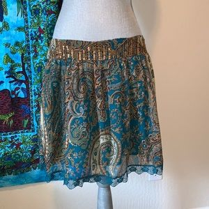 Funky People paisley sequin mini skirt size Large